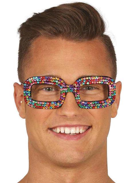 Multi-coloured hippy diamante glasses for women