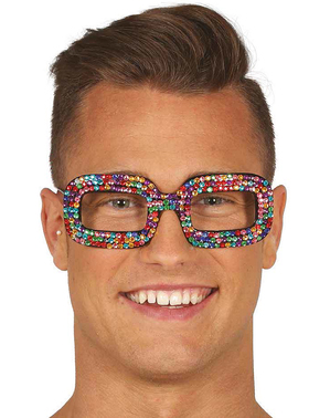 Multi-coloured hippy diamante glasses for women