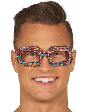 Óculos hippies multicolor com brilhantes incrustados