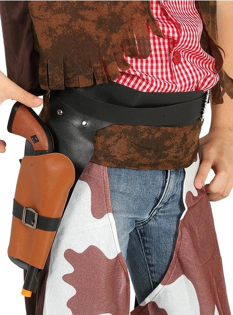 Cartuchera negra con pistola de vaquero infantil