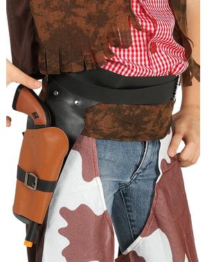 Cartucheira preta com pistola de cowboy infantil