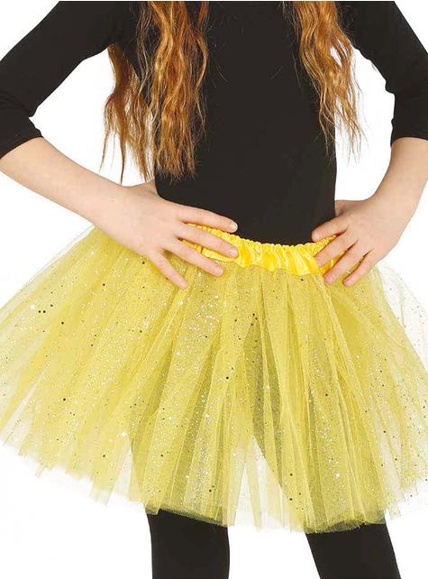 Tutú amarillo con brillantina para niña