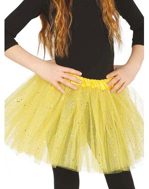 Tutu amarelo com brilhantes para menina