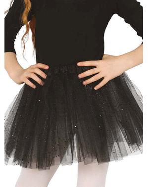 Tyllkjol svart med glitter barn