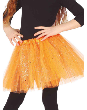 Orange glitter tylskørt til piger