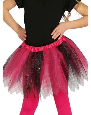 Tyllkjol rosa och svart med glitter barn