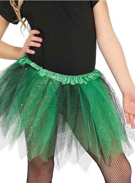 Tutú verde y negro con brillantina para niña
