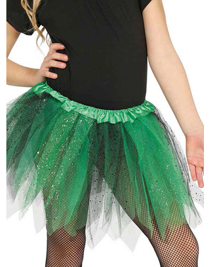 Green and black glitter tutu for girls