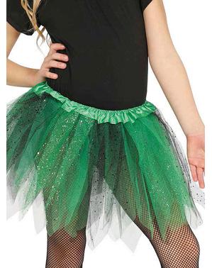 Tutu verde cu negru cu sclipici pentru fată