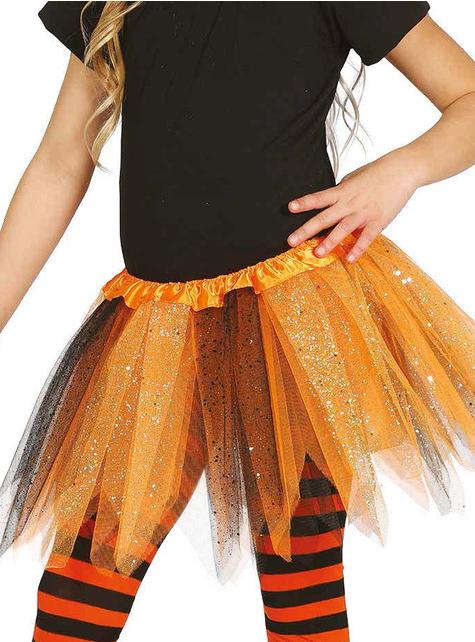 Tutú naranja y negro con brillantina para niña