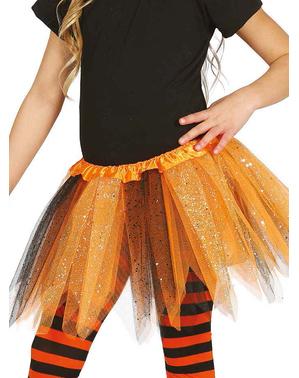 Tyllkjol orange och svart med glitter barn