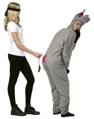 Fato de põe a cauda ao burro para casal
