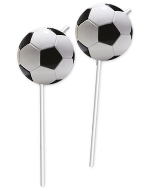 6 Football Party Straws