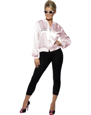 Pink Ladies Jacka Plus Size - Grease Maskeraddräkt