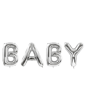 Ballon Baby argent en alu (86 cm) - Baby Shower Collection