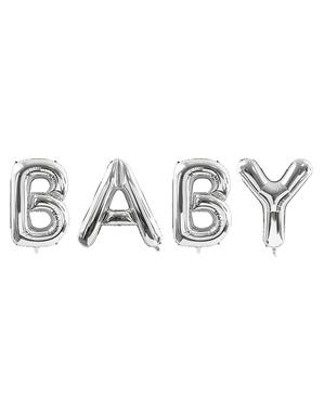Palloncino Baby argento di foil (86 cm) - Collezione Baby Shower