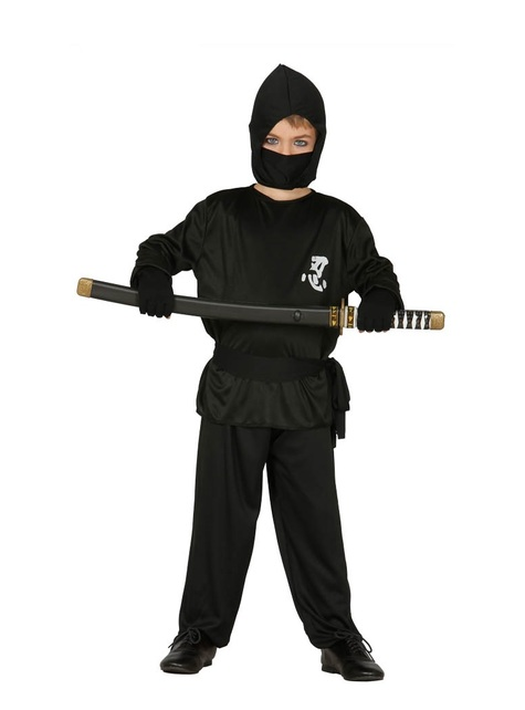 Schwarzer Ninja Kostüm für Jungen