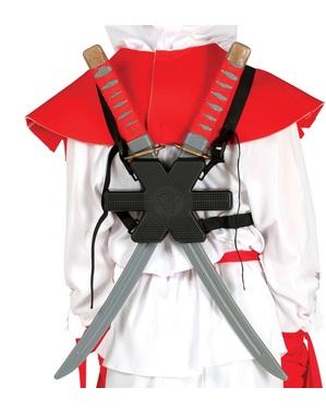 Set 2 Samurai-Schwerter für den Rücken