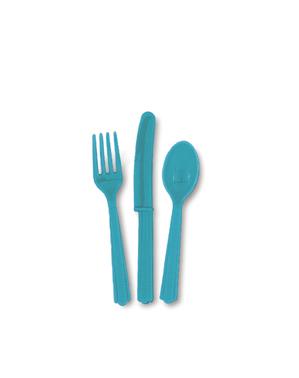 Conjunto de talheres de plástico cor azul água-marinha- Linha Cores Básicas