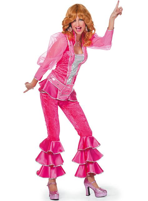 Disfraz de Abba deluxe rosa años 70