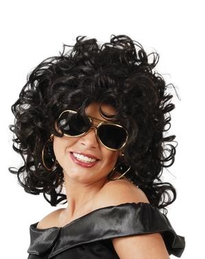 Perruque cheveux bouclés noire moderne