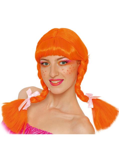 Orange paryk med fletninger