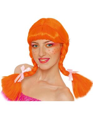 Orange peruk med flätor