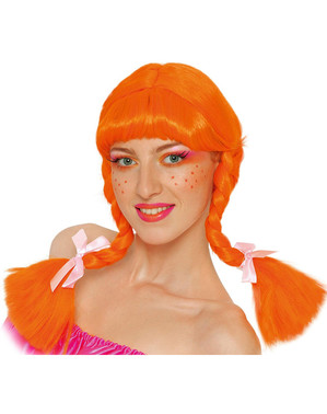 Oranžová parochňa s vrkôčikmi