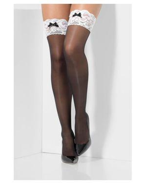 Musta Ranskalaisen palvelustytön sukkahousut naisille
