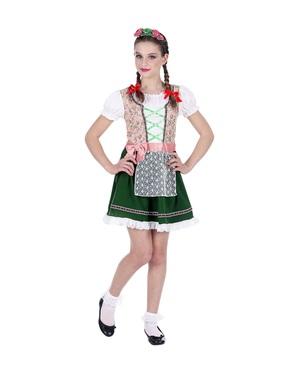 Oktoberfest Bavarisk kostume til piger