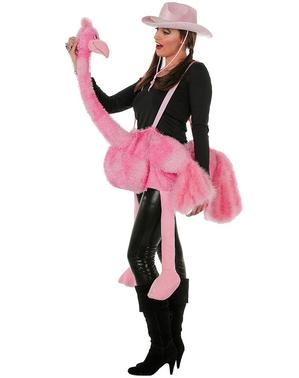 Fato de flamingo montado rosa para adulto