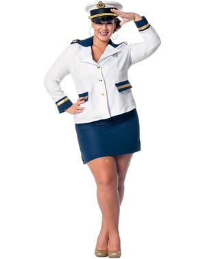 Hvit sjømann kostyme til dame
