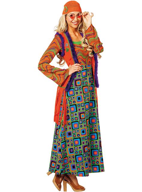 Disfraz de hippie naranja para mujer