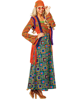 Déguisement hippie orange femme