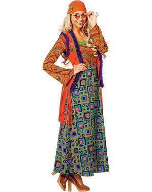 Oranje hippie kostuum voor vrouw
