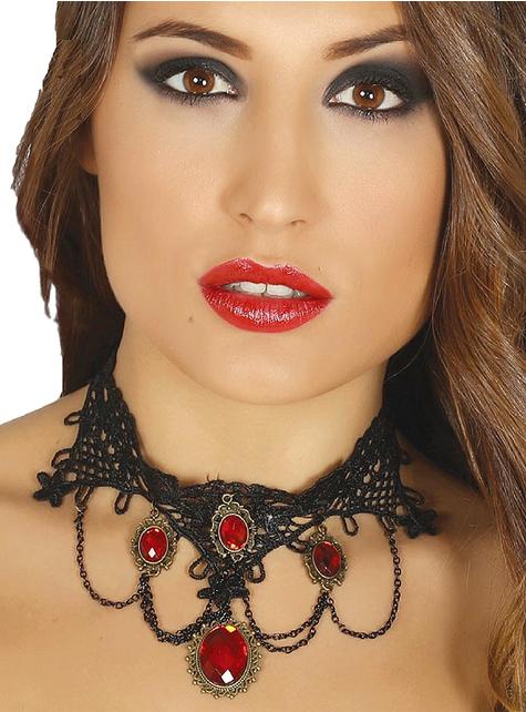 Gargantilla de vampiresa con rubís para mujer