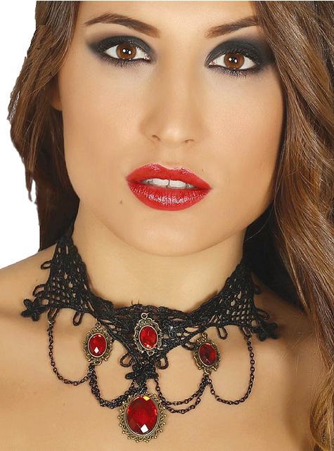 Ruby vampire choker for women