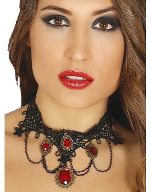 Robijnen vampier halsband voor vrouw