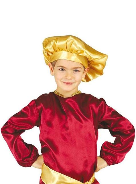 Fato de pajem Real vermelho para menino