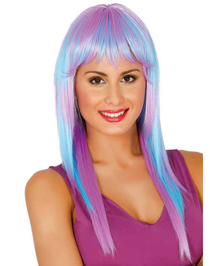 Perruque bleue et rose longue femme