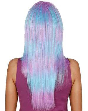 Pruik lang haar paars/blauw