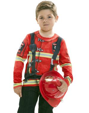 Camisola de bombeiro apaga incêndios infantil