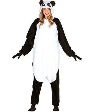 Luie panda kostuum onesie voor volwassenen