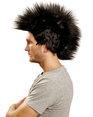 Чорну перуку Punk Mohawk