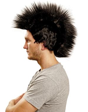 Punk Perücke mit Irokesenschnitt schwarz
