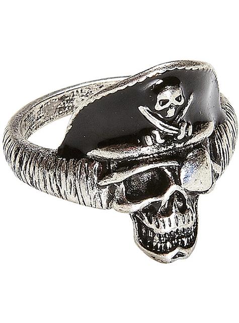 Anel de caveira de capitão pirata para adulto