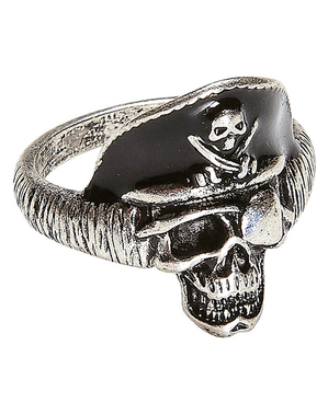 Bague tête de mort capitaine pirate adulte