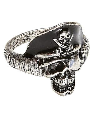 Ring met schedel van piratenkapitein voor volwassenen