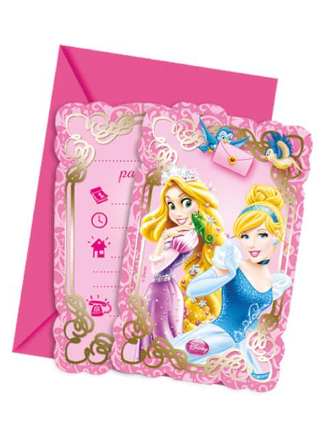 Set de 6 invitaciones Princess & Animals