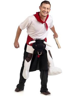 Disfraz a hombros de toro San Fermín para adulto